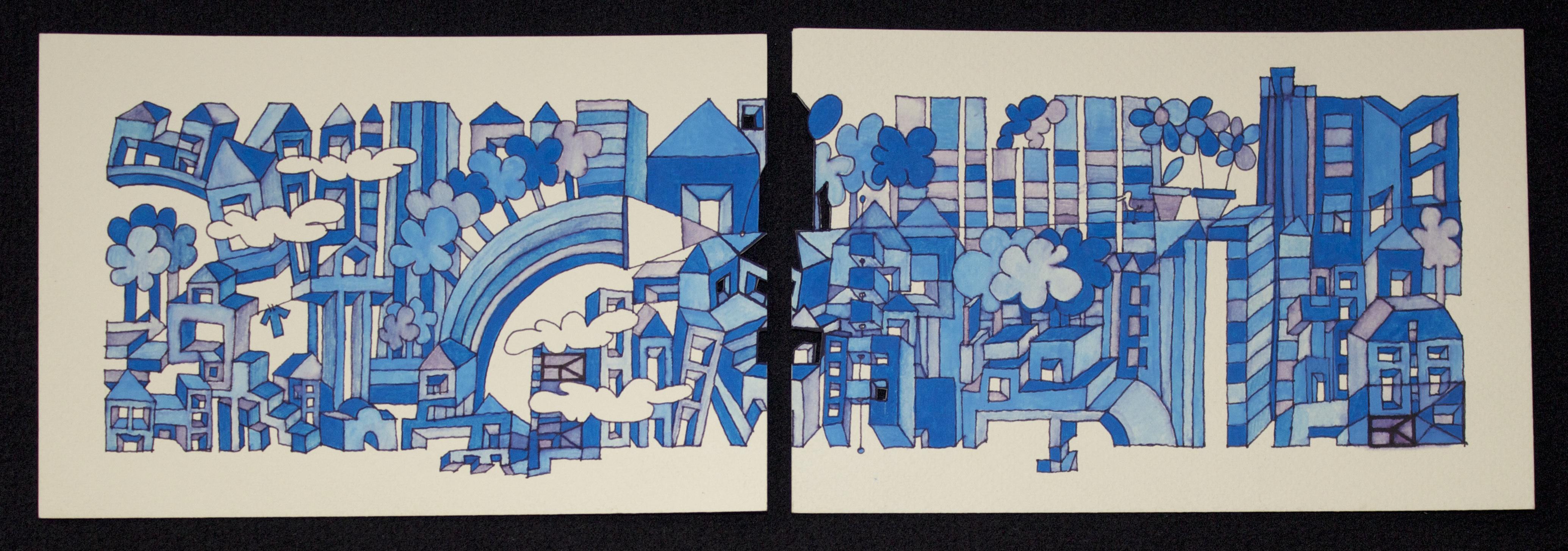 i due blu acrilico su carta cm 36x12