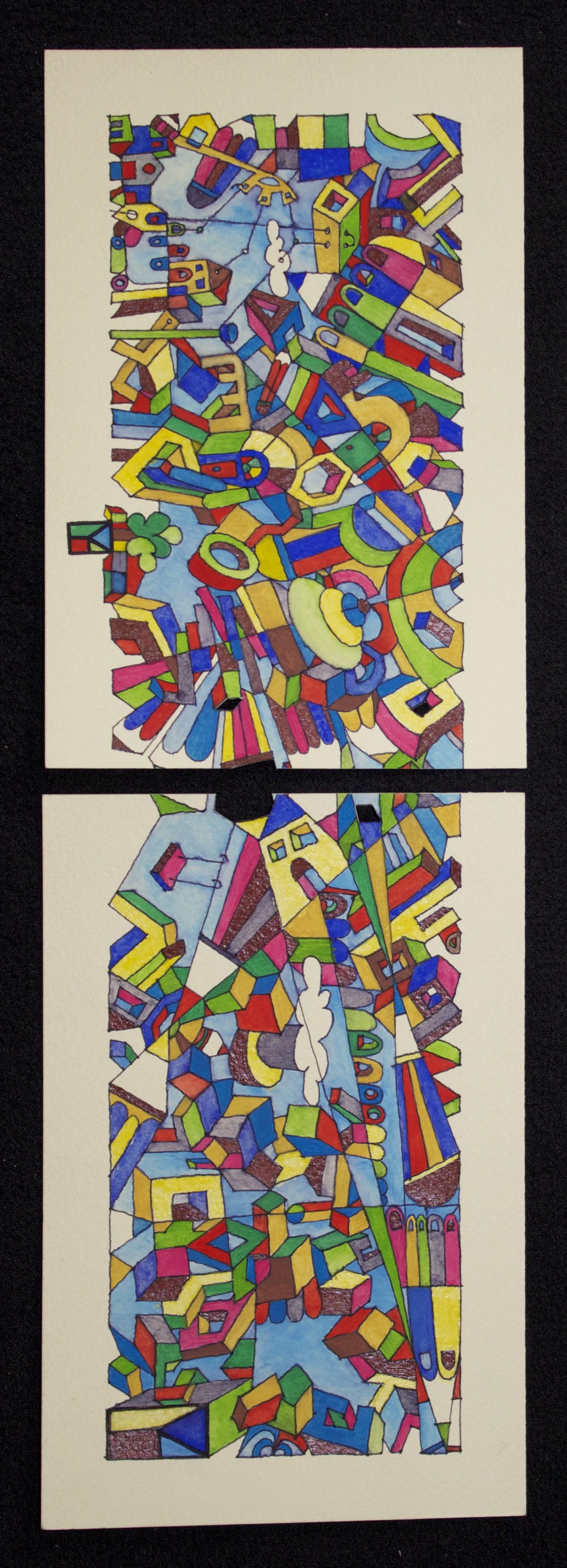 i due verticali acrilico su carta cm 12x36