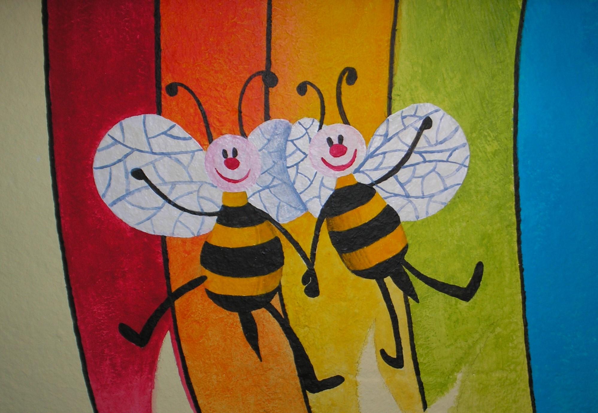 particolare in esecuzione dipinto su muro