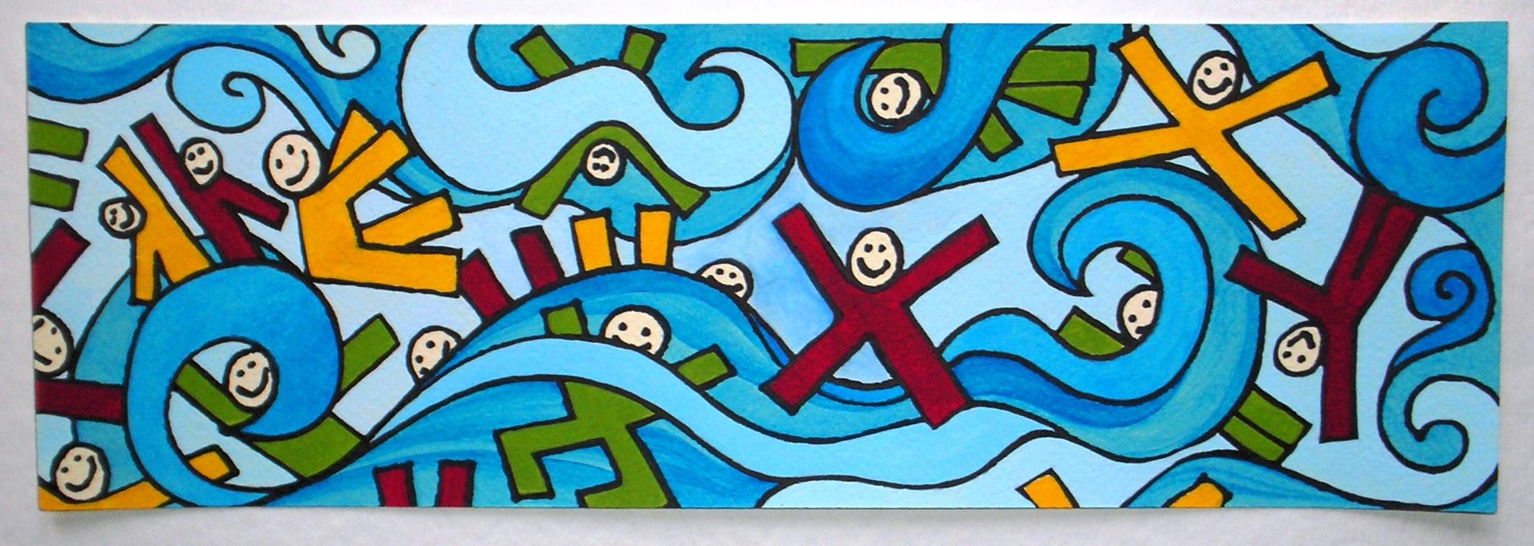 bambini fra le onde acrilico su carta cm 36x12