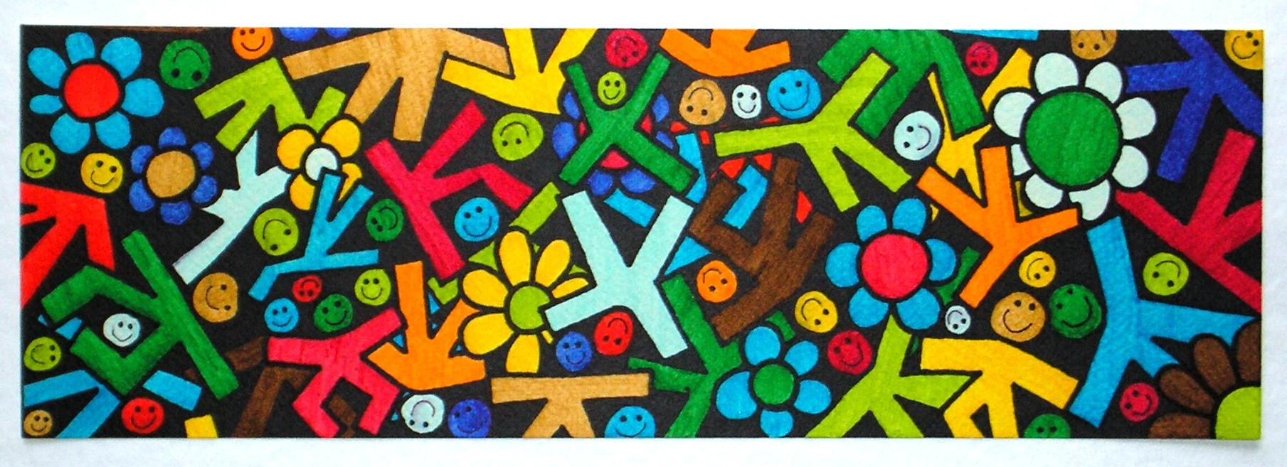 bambini e fiori pennarelli su carta cm 36x12