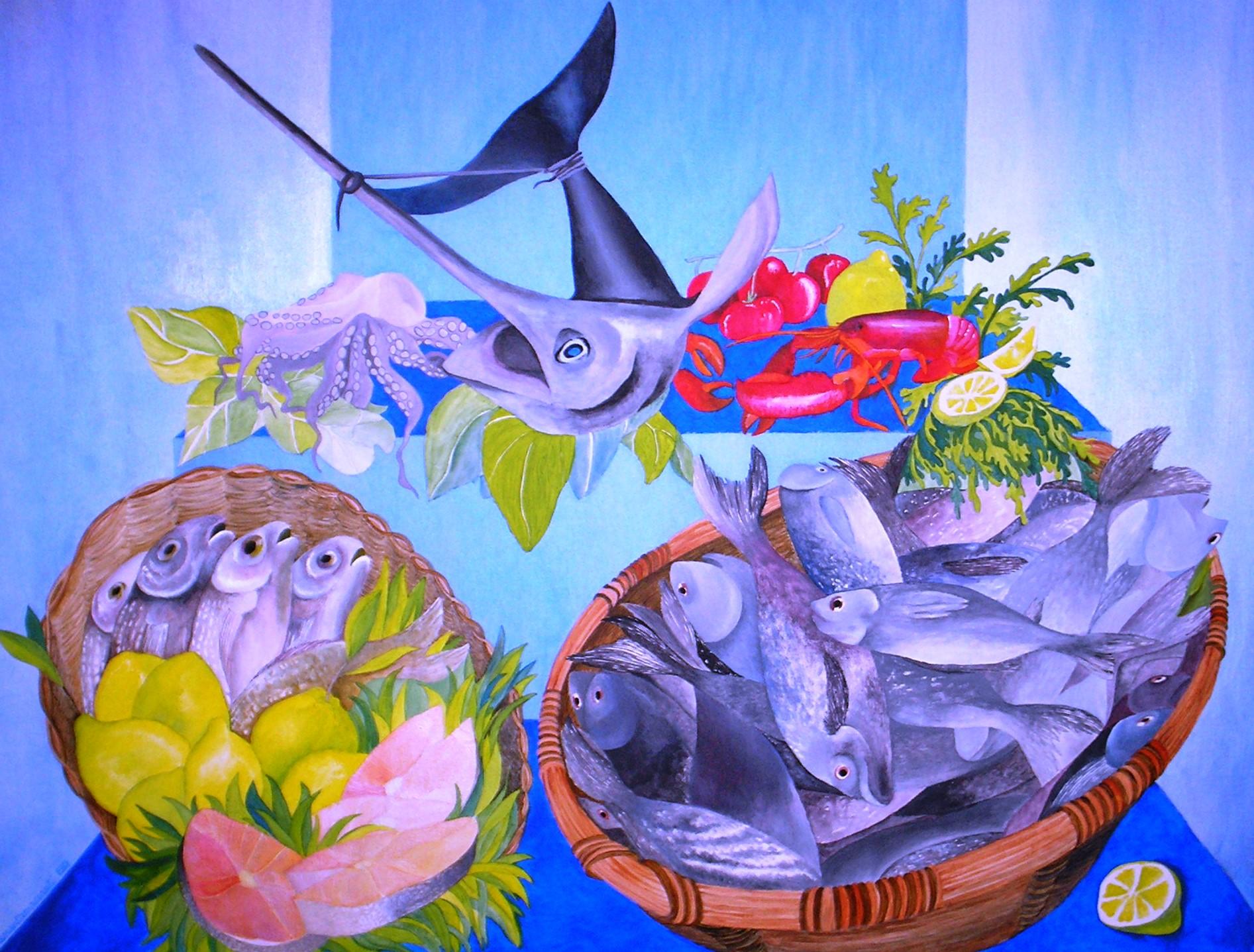 pescivendolo scenografia teatrale acrilico su tela cm 60x80